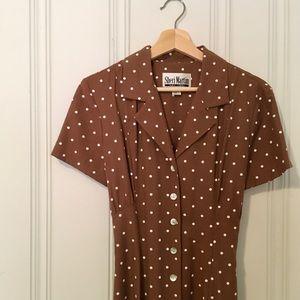 Vintage brown polka dot collar maxi dress